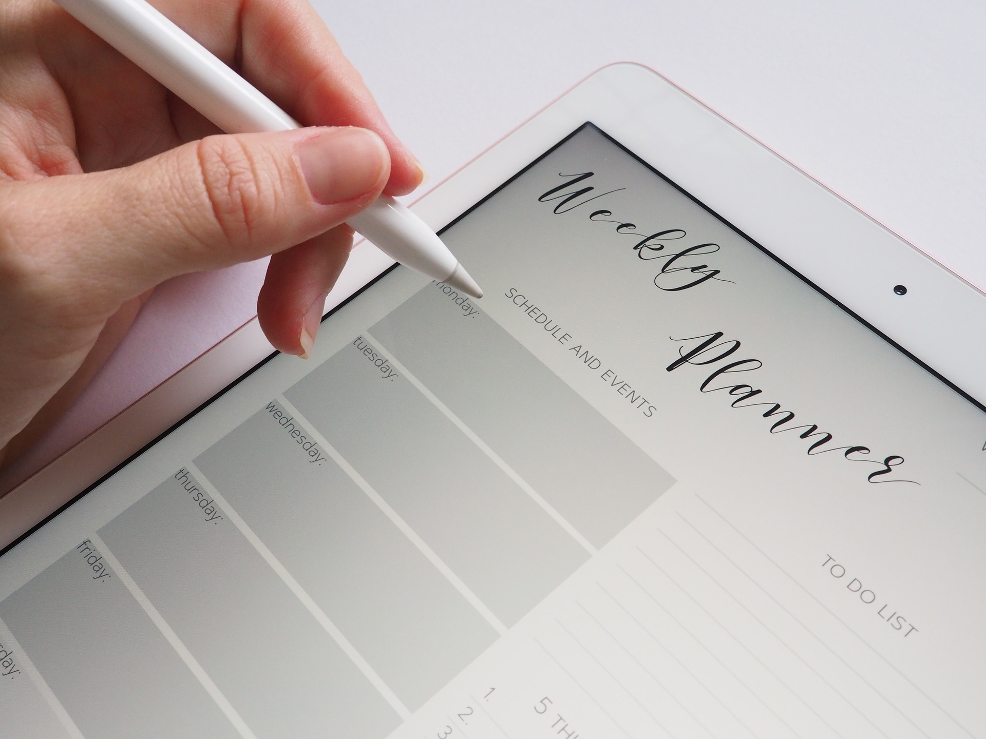 image of a woman holding an apple pencil with a weekly planner on her iPad